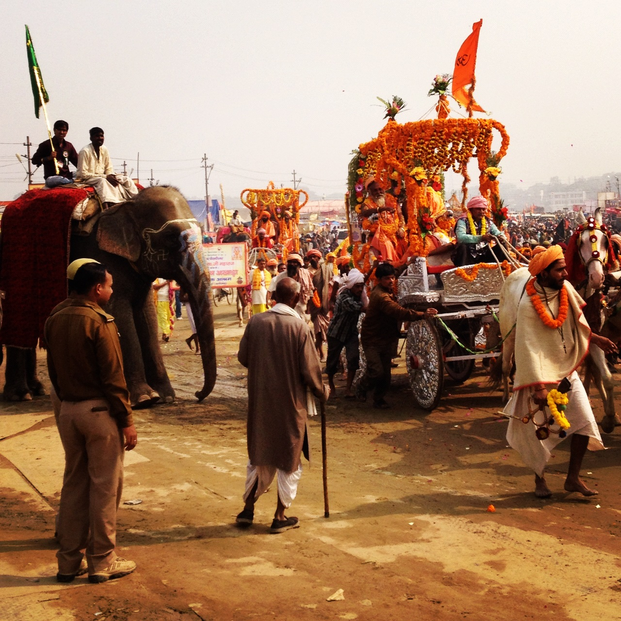 An ashram parades with elephants and Sadhus in chariots