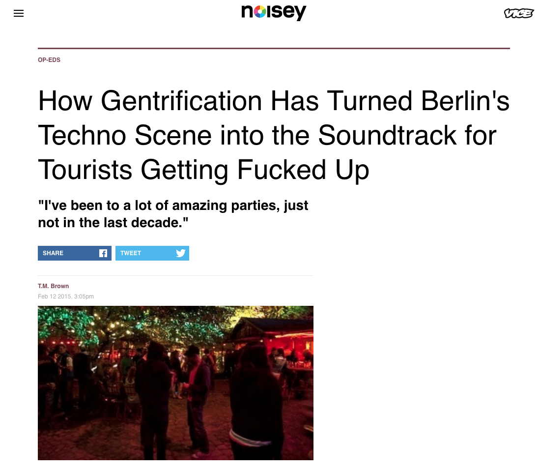 Berlin has been gentrifying and changing for the last decade, but during my 14 months there I saw the rise of the techno tourist. I wrote about it for Noisey. -