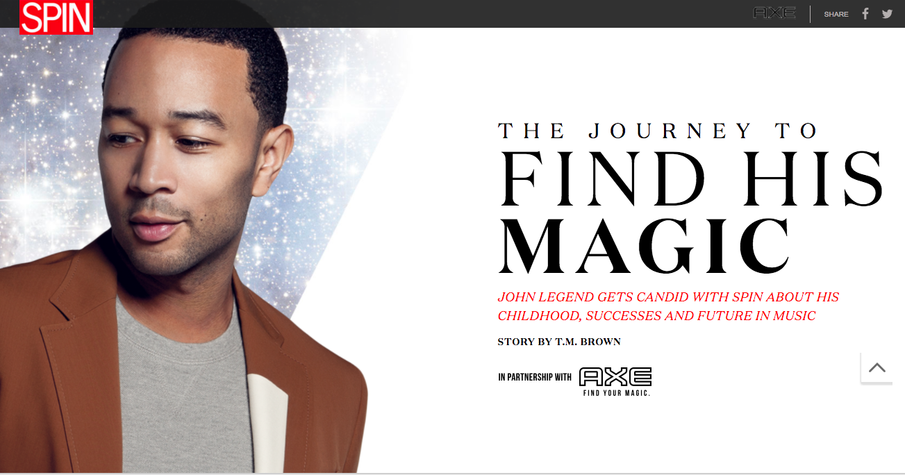 I wrote about John Legend's personal and creative journey for AXE's campaign with SPIN magazine. -
