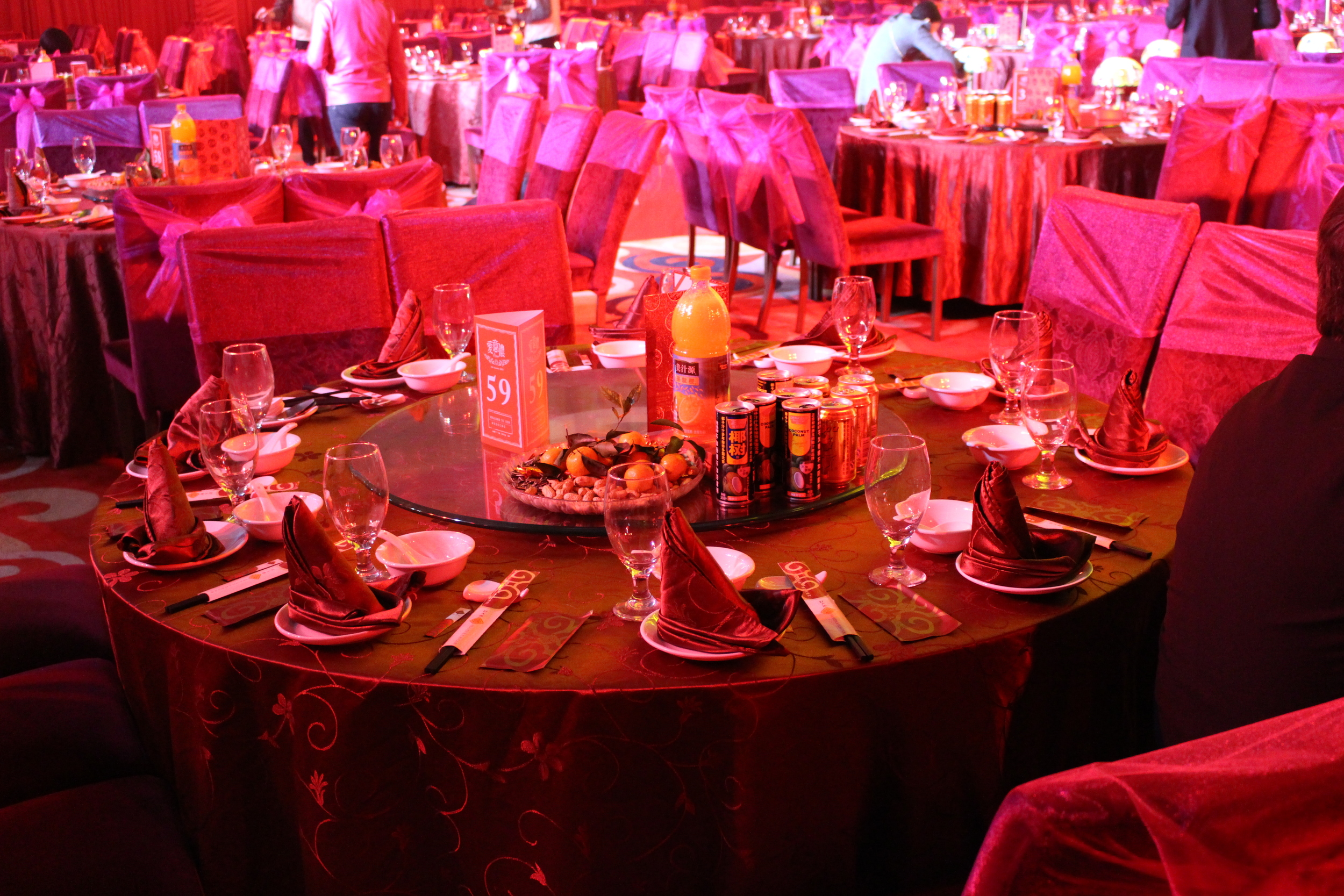 A tablescape in the banquet hall!