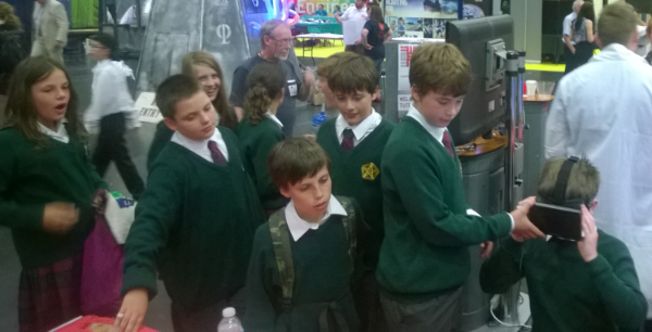 Students queuing to try the Oculus Rift, Big Bang event, Coventry