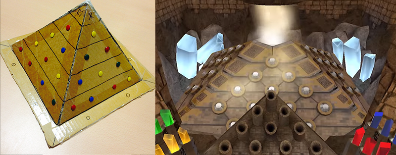 Early cardboard mock-up of one of the puzzles in the game