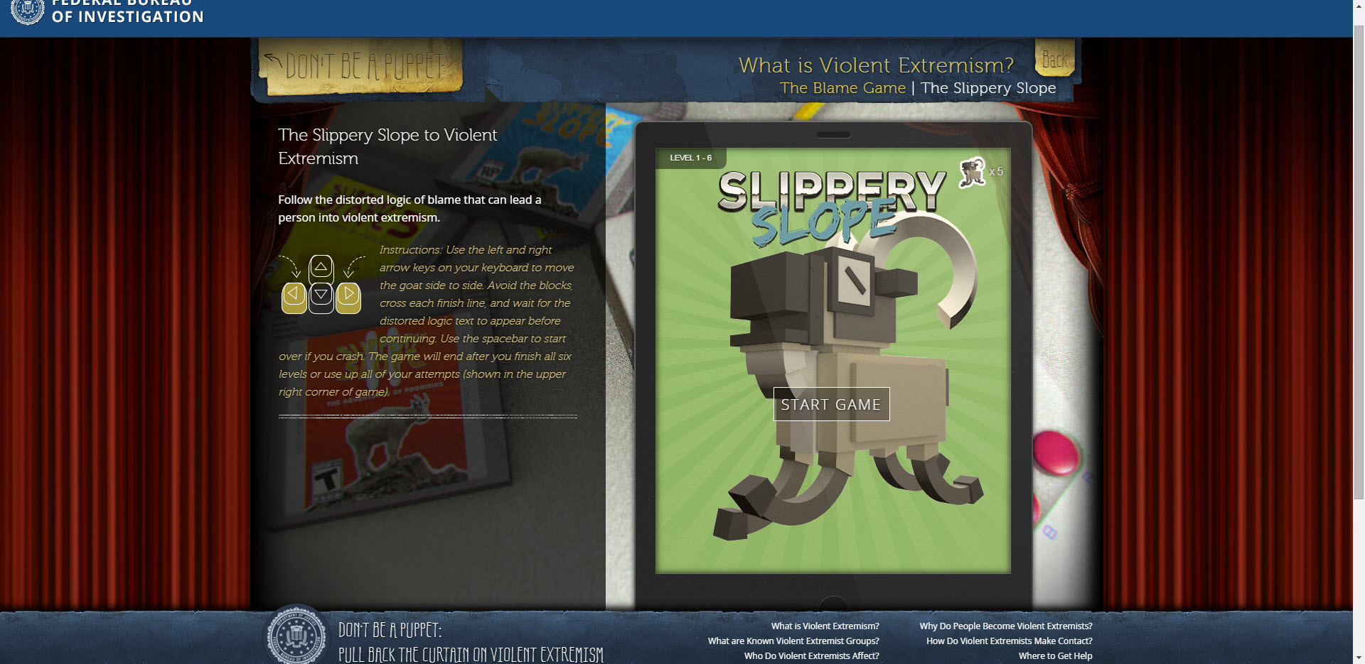 Screenshot from Slippery Slope game