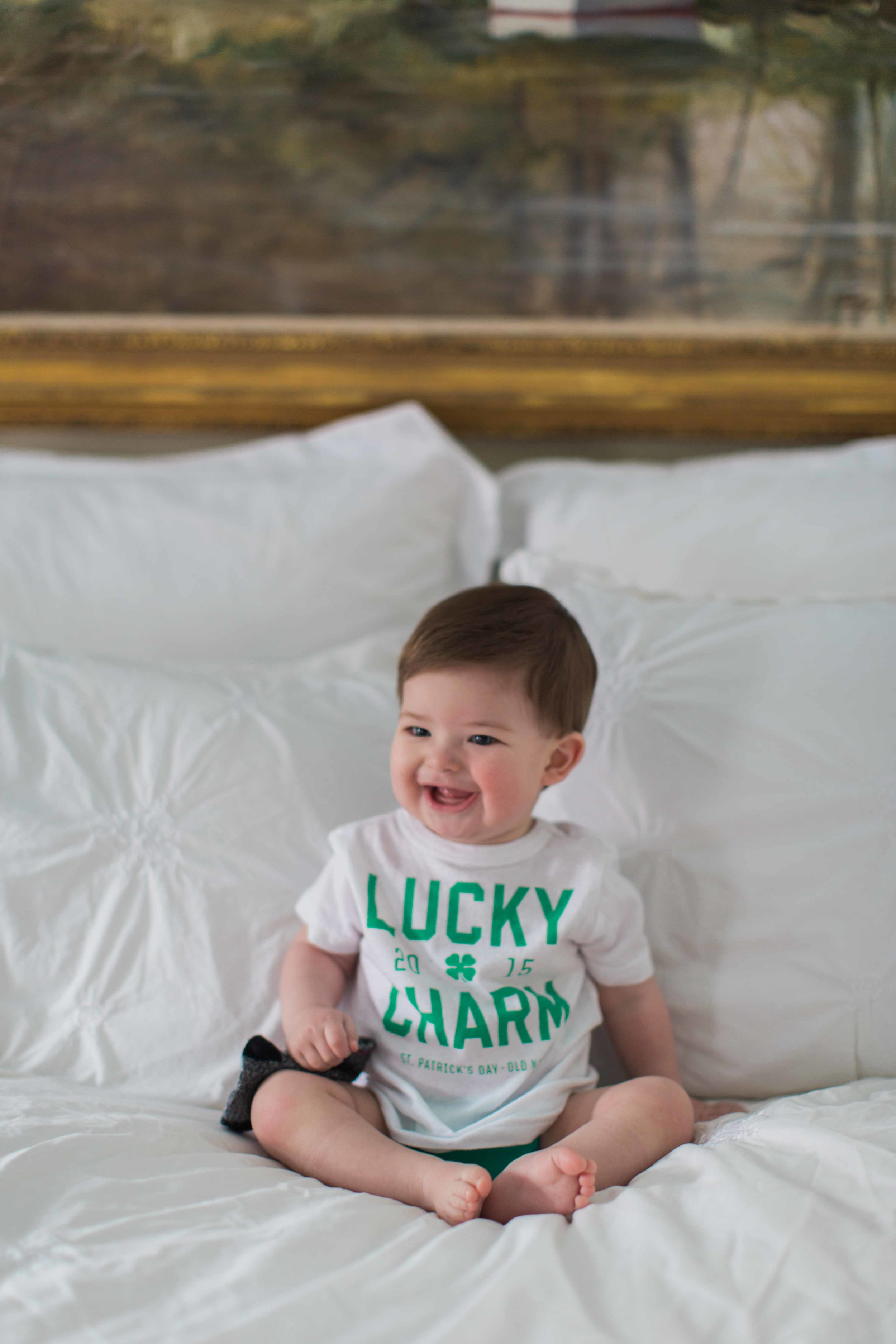 You can't see it, but he is sporting a really cute green Bum Genius 4.0 diaper with his St. Patrick's day t-shirt