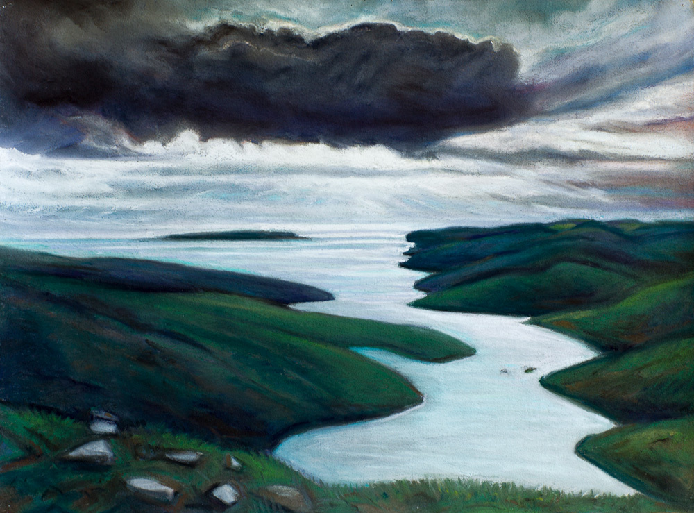 View to St. Magnus Bay, Shetland, pastel