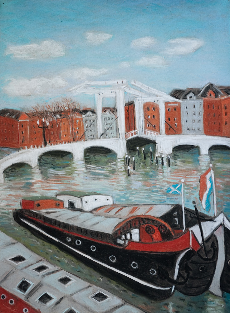 Amsterdam Canals, Magere Brug, pastel 18x24