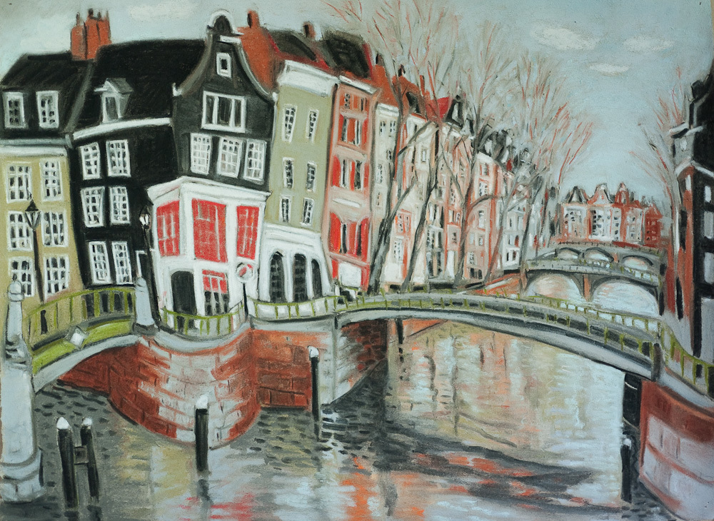 Amsterdam Canals #1, pastel, 18x24