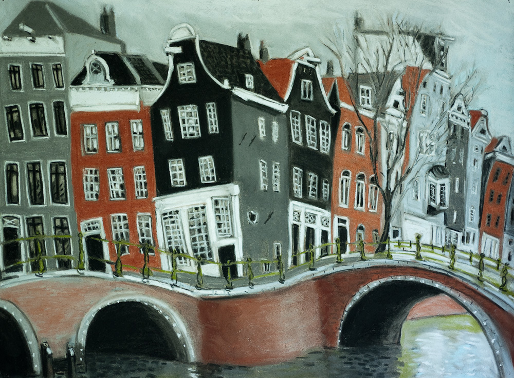 Amsterdam Canals #2, pastel 18x24