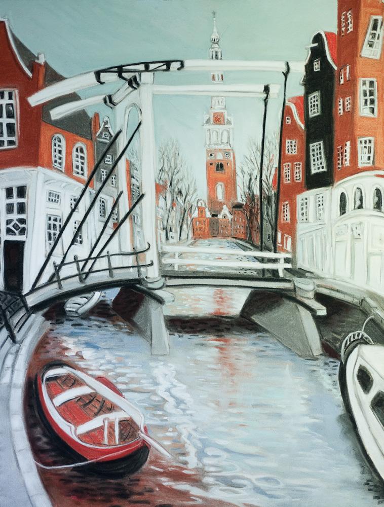Amsterdam Canals, White Bridge, pastel 30x22