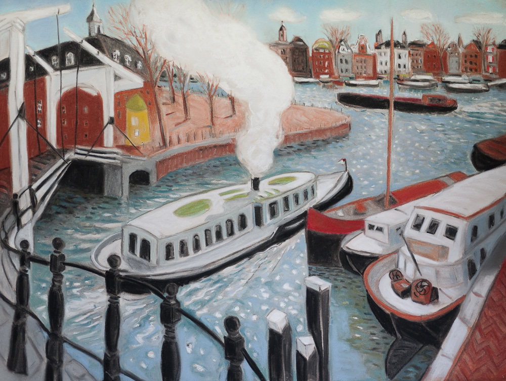 Amsterdam Canals, Steam Barge, pastel 30x22