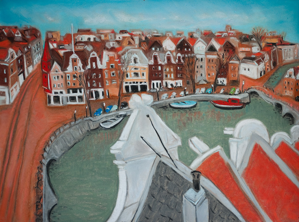 Amsterdam Canals, Roof Top View, pastel 18x24,