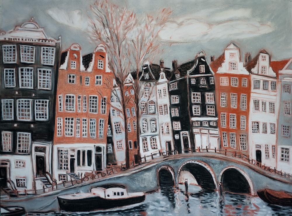 Amsterdam,  Prinsengracht Canal, pastel 22x30