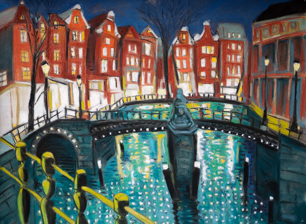 Amsterdam Canal at Night, oil pastel/paper 18x24