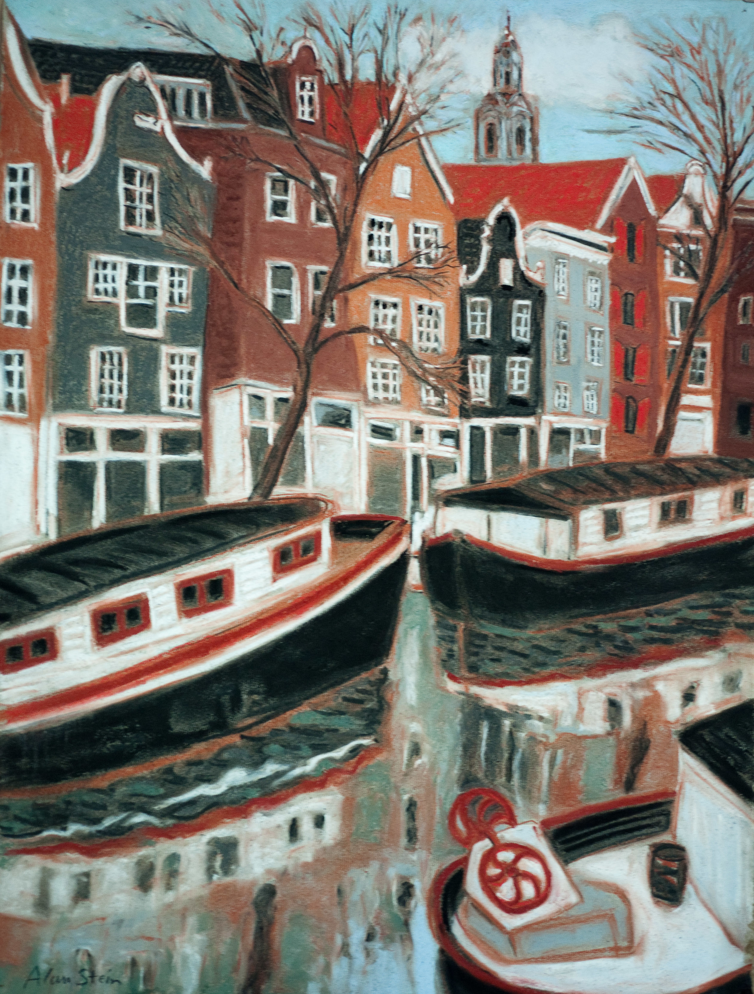 Amsterdam Canal Boats. pastel 18x24
