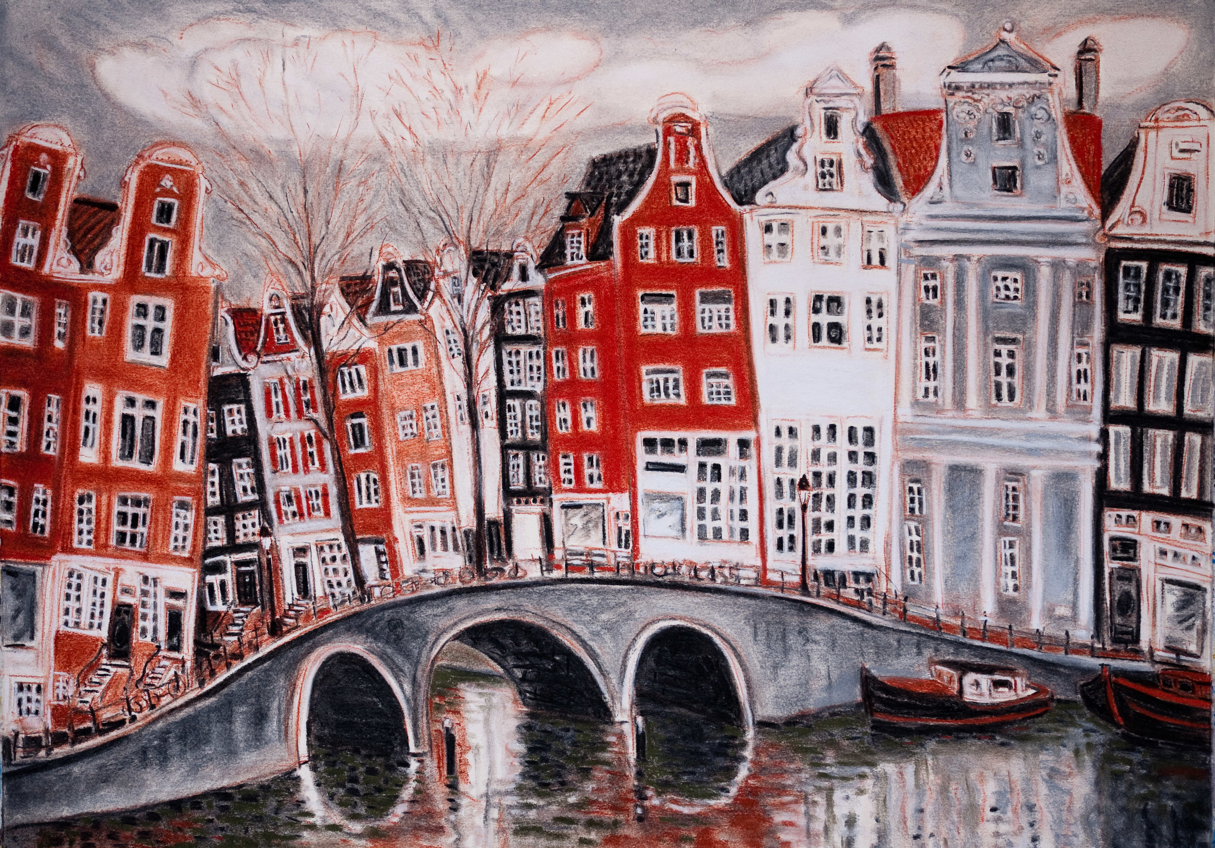 Amsterdam Canals, Prinsengracht Canal #2, pastel 22x30