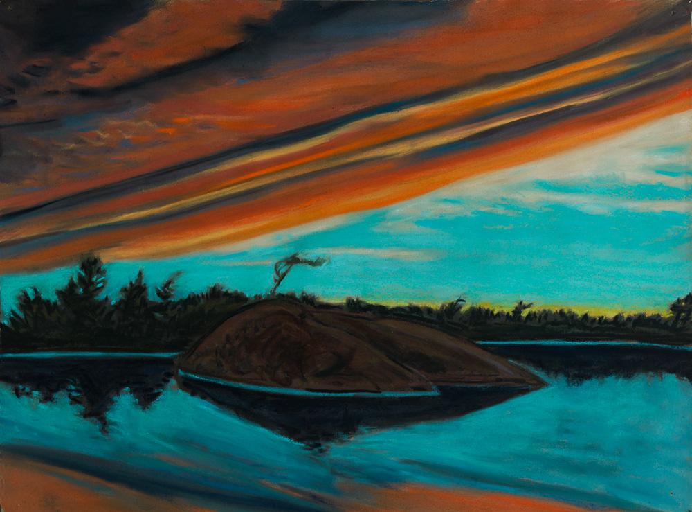 Sunset, Georgian Bay  pastel 18x24