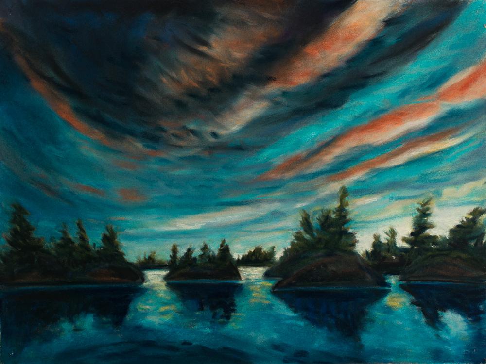 Moonlight Georgian Bay, pastel 18x24