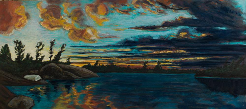 Sunset, Georgian Bay #3. pastel 21x47