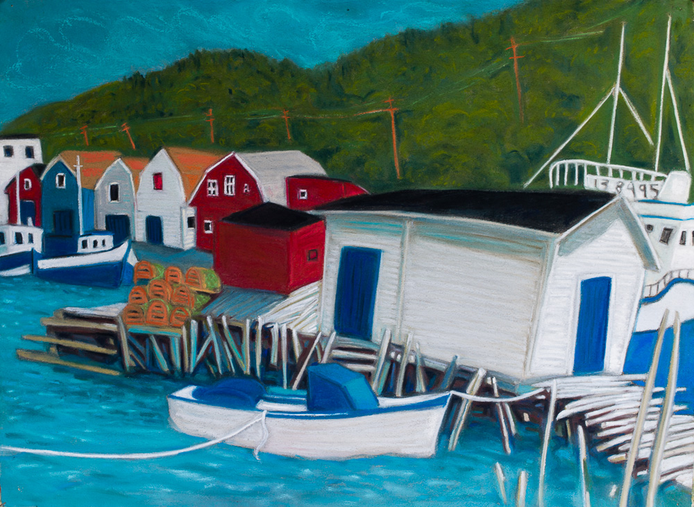 Petty Harbour, Fishing Stage, pastel 22x30