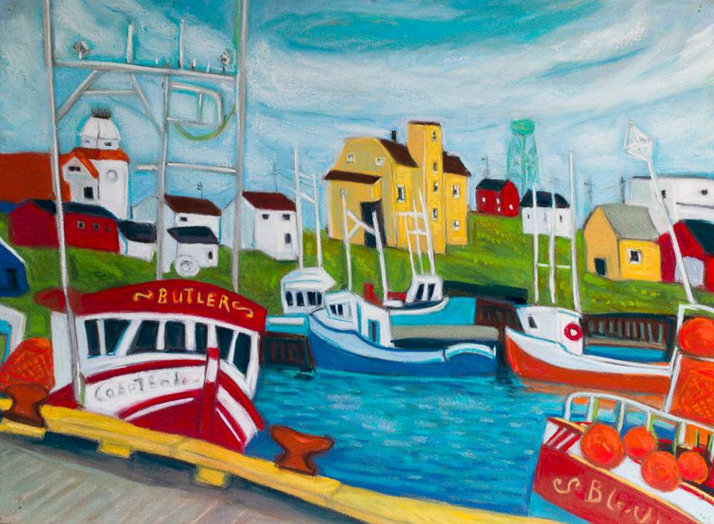 Bonavista Harbour, pastel 22x30