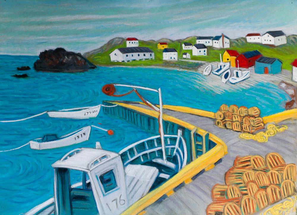 Keels Pier, Newfoundland. pastel 22x30