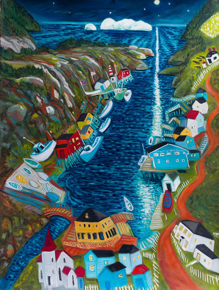 Moonlight Iceberg Quidi Vidi. pastel 40x30