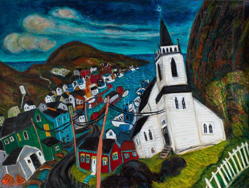 Petty Harbour #2, oil pastel 22x30
