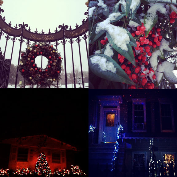1) Christmas comes to Green-Wood Cemetery. 2) Our first morning in TN, it snowed and made the holiday even more festive. 3) Even my dad, a classic scrooge, loves xmas. 4) South Slope gets decked.