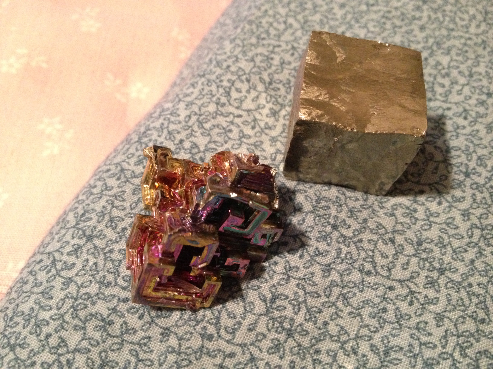 The Bismuth is so shiny and iridescent! Hard to capture in a photo.