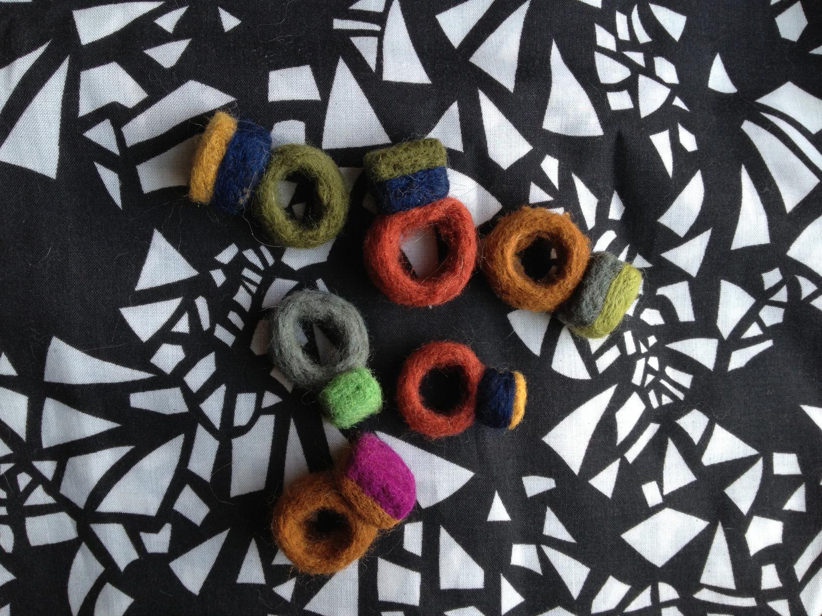 Needle felted gems.