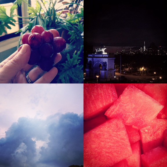 1) Physics of grapes. 2) Lights in the City. 3) Cotton cloud formations. 4) Geometry of watermelon.