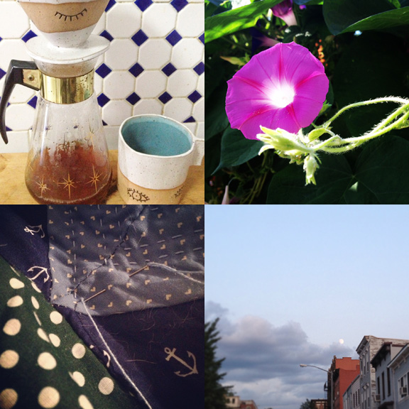 1) Using my prize, along with my vintage coffee carafe. 2) August didn't disappoint for flora and fauna. 3)A not yet finish. 4) Summer moon over BK.