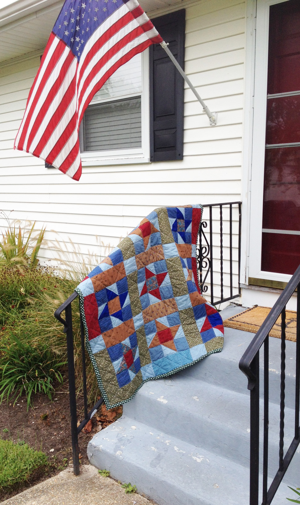 Finished quilt hanging out in Cape May, NJ.