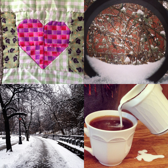1) Little hearts (more coming soon). 2) Winter's garden. 3) Snowy paths around Grand Army Plaza. 4) Coffee with  Crimson.