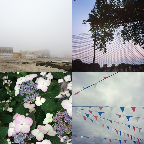 1) North Side, Asbury Park, on a foggy day. 2) Sitting in the  park  waiting for music and Fireworks. 3) Lacey evening walks. 4) Grand openings and grey skies.