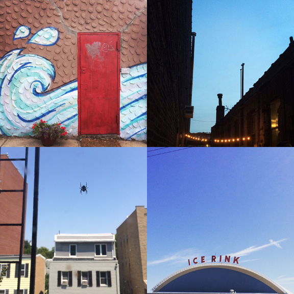 1) A swell in South Slope. 2) A party on Sackett Street. 3) A spider sits in the sky. 4) Rink in Brick.