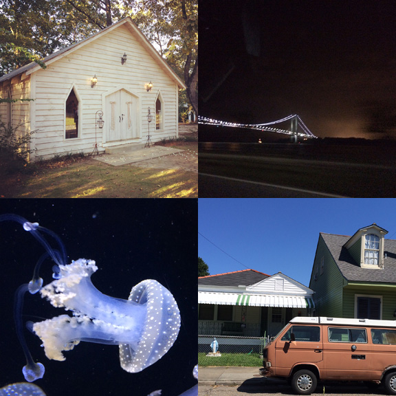1) The cutest chapel. 2) Staten Island looking majectic. 3) The brightest jelly. 4) Nola looking magical.