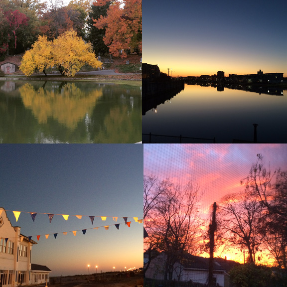 1) Fall takes over Greenwood Cemetery. 2),3), & 4) So many new sunsets.