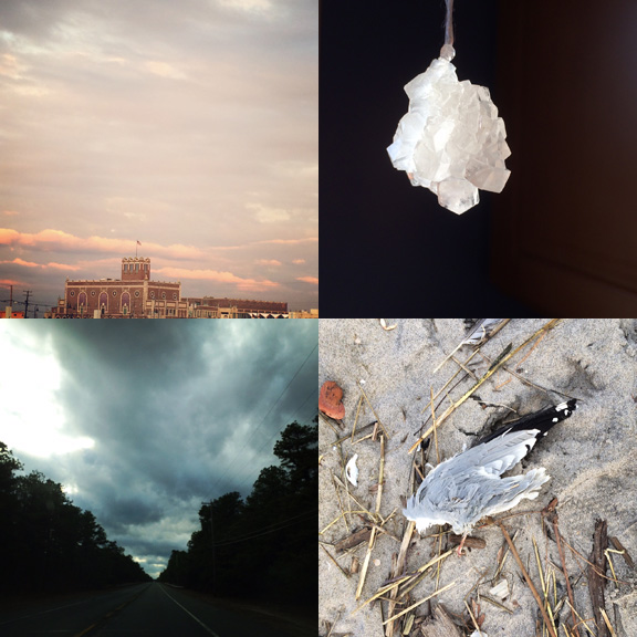 1) Pink sky at night... 2) Homemade crystals! 3) A mysterious drive. 3) Lost at sea.