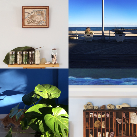 1) Some of our sea glass collection. 2) Shifting light on the boardwalk. 3) New plants and noms. 4) more collections.