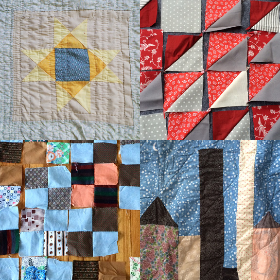 1) My May goal. 2) A new block. 3) Vintage squares. 4) A city by the sea.