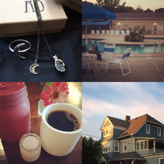1) Lovely objects from Arcana Obscura. 2) Evenings poolside. 3) Leisurely breakfasts. 4) That golden hour.