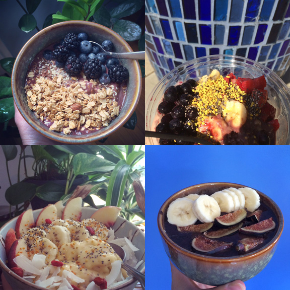 1) My very first at home #smoothiebowl. 2) A delicious one from Juice Beach. 3) My sweetest bowl yet! Mangos, peaches, bananas, all the fixins. 4) Easy and simple with figs from my dad.