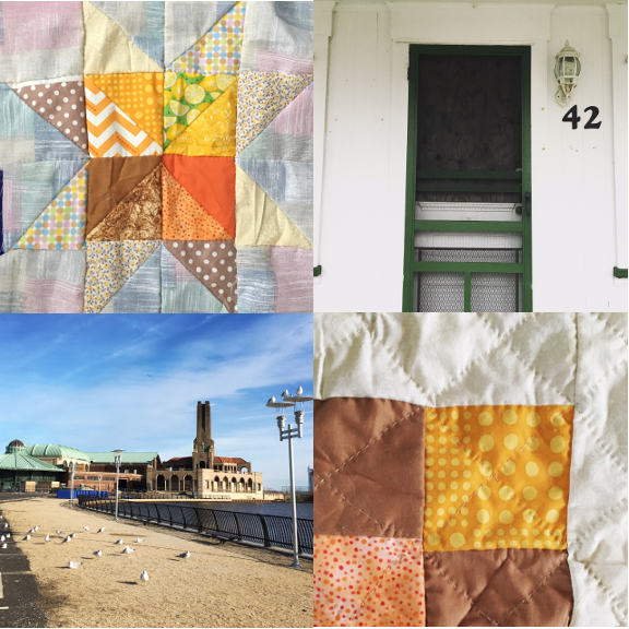 1) The Honey Pot Bee commences. 2) Boarded up, but not unwelcoming in Ocean Grove.  3) A bright and sunny day in Asbury Park. 3) Pillow for Pit.
