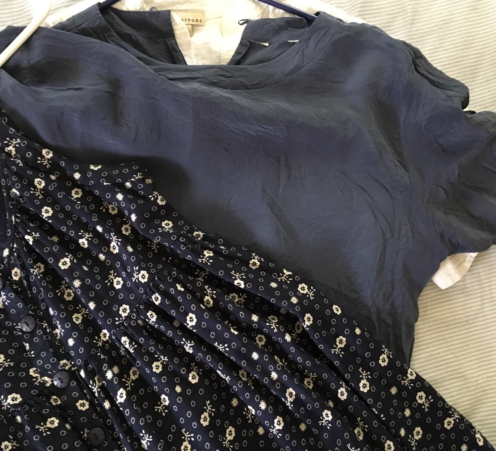 I love this thrifted blue silk top and got a lot of wear out of it in Spring, but it was too hot in summer for this top. I'm keeping it, in case we get some cool days in September and rolling it over to Fall, for sure.