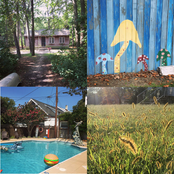 1) Cabins in the forest. 2) Mushrooms in the market. 3) Pools in the city. 4) Fields on the lawn.