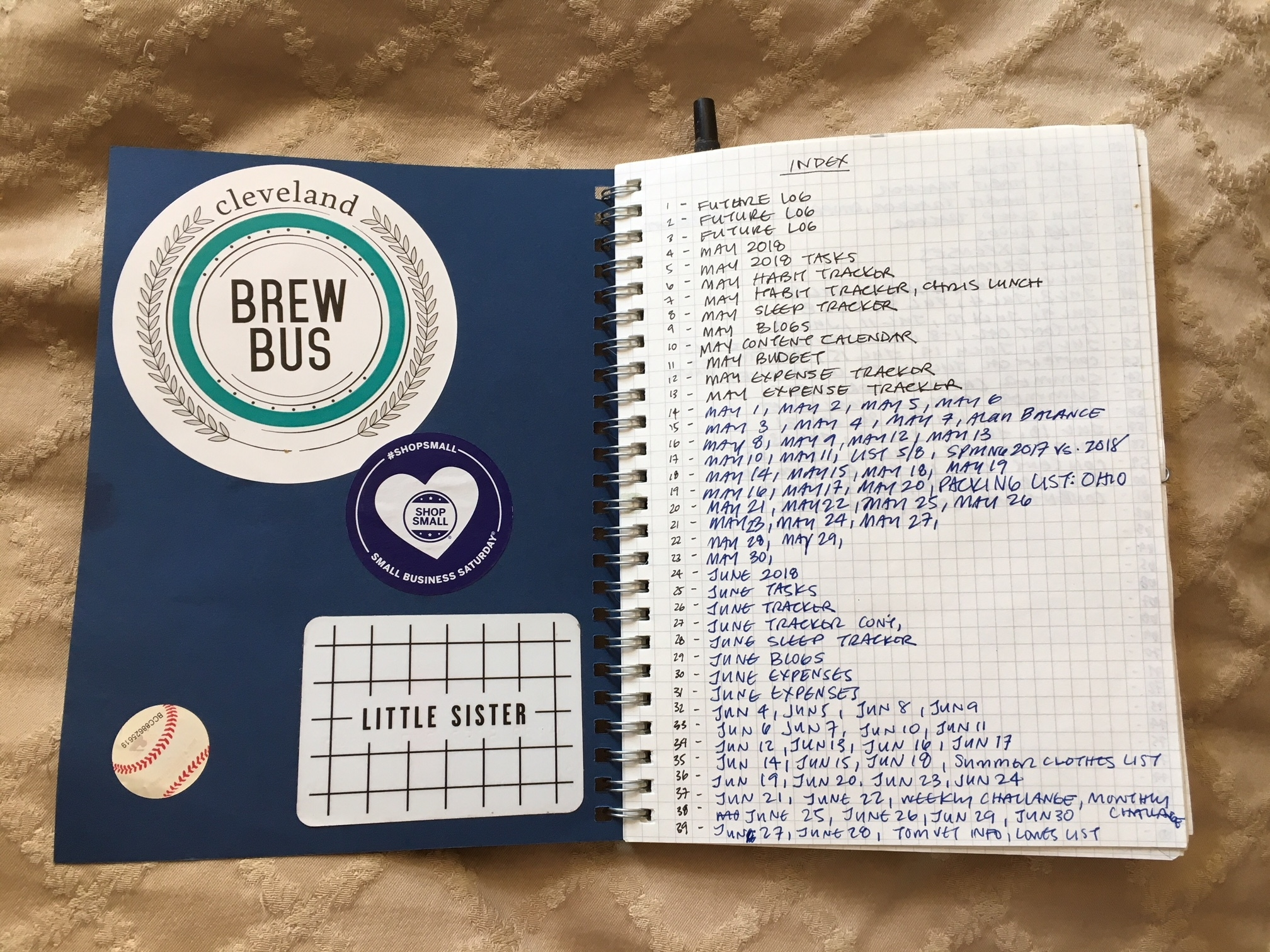 The first few pages of my journals are always my index, it was nice that this page was all full by August. I always find stickers and usually stick them in my BuJo.