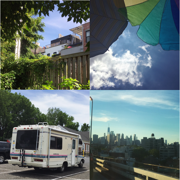 1) A snippet of Brooklyn, 2) a sparkle of sky, 3) a style of driving, 4) a skyline to spy.