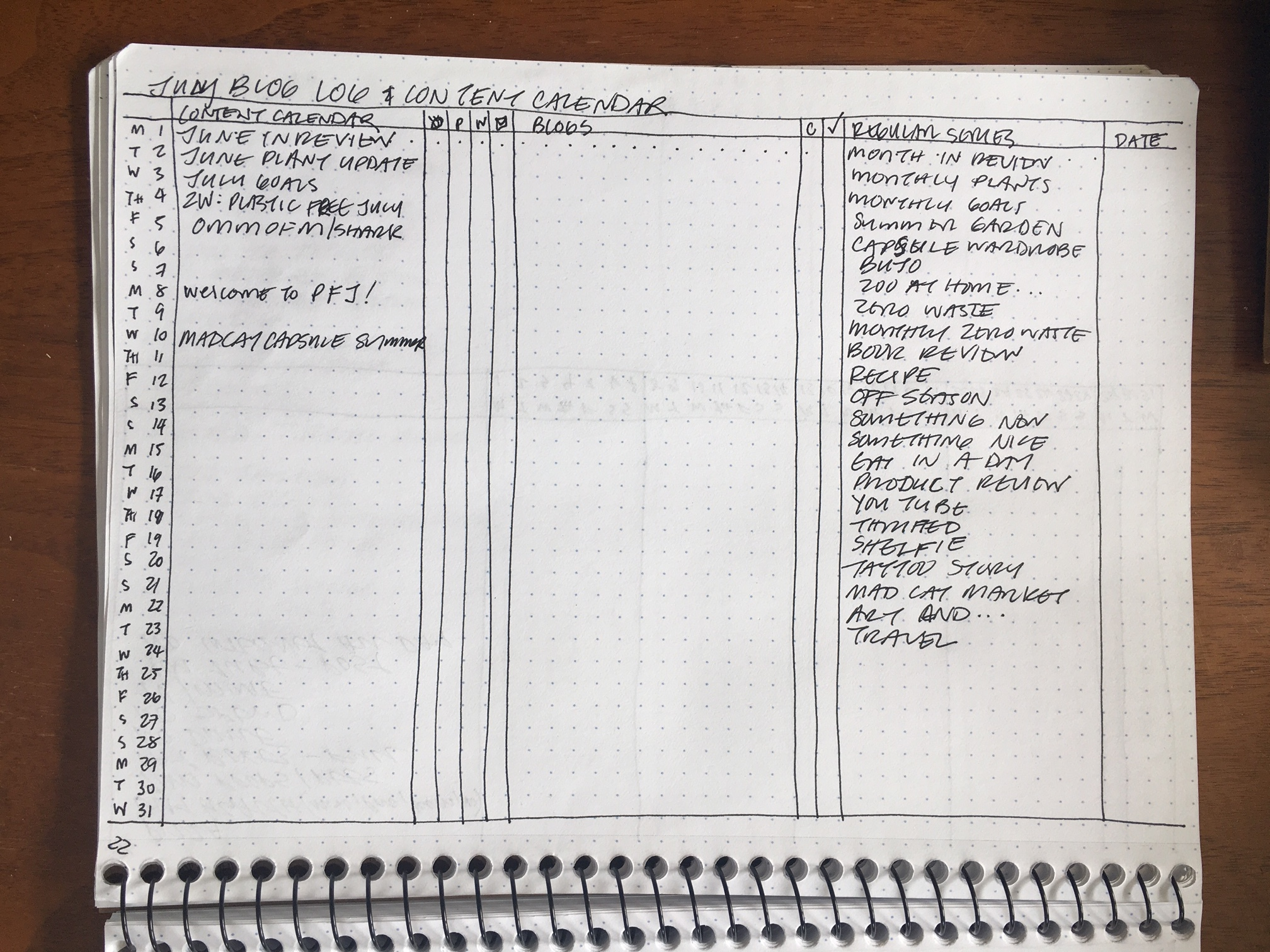 Since starting this journal, I've created a new blog log and content calendar.
