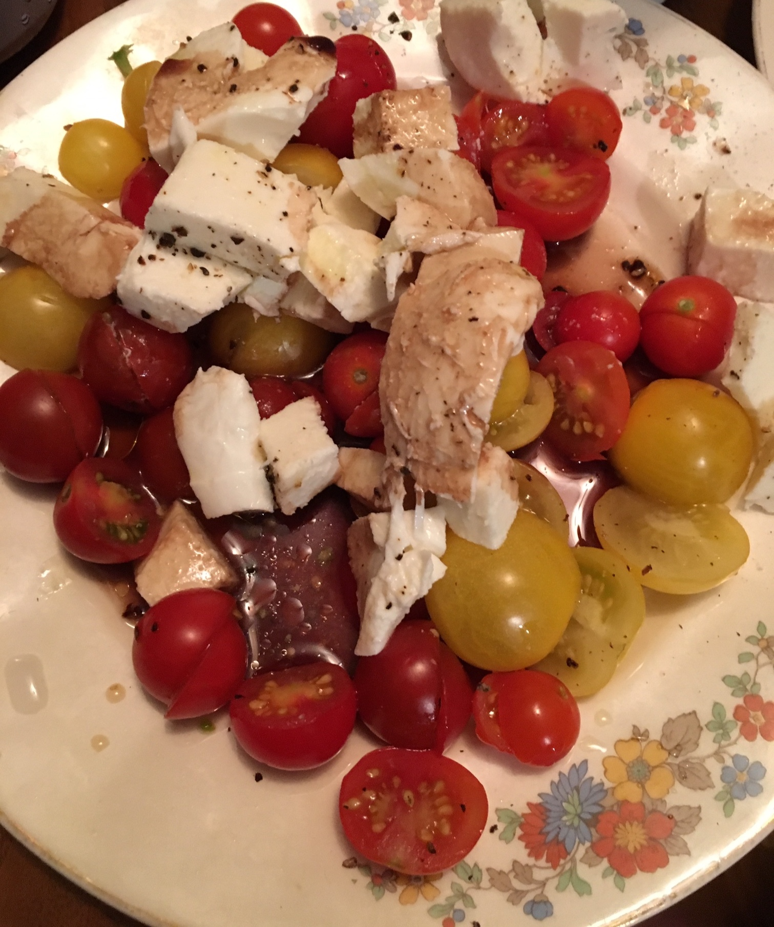 Tomatoes and mozz with balsamic. Our favorite Summer meal.